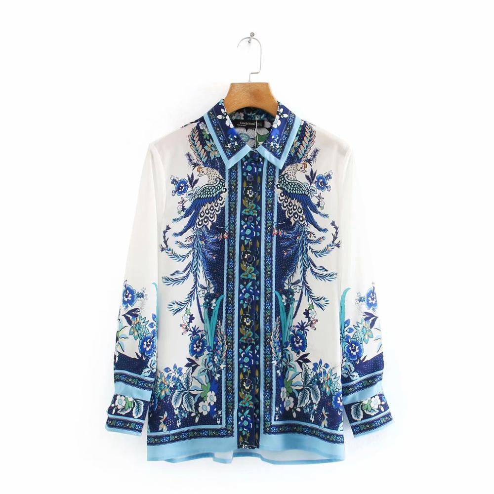 New 2020 Women Vintage Position Totem Flower And Birds Print Casual Blouse Office Lady Long Sleeve Shirt Chic Blusas Tops LS6642