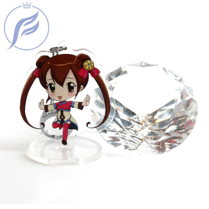 FANGQINGMAO 7cm Logo Custom Cartoon Anime Acrylic Standee Two Side Printed Transparent Clear Stand for Model Display