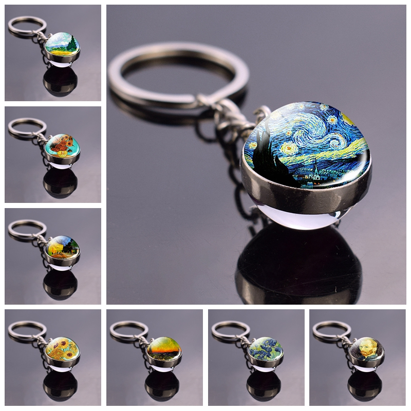 Van Gogh Oil Painting Starry Night Glass Ball Key Chain Key Rings Van Gogh Sunflowers Irises Almond Jewelry Art Keychain Keyfob