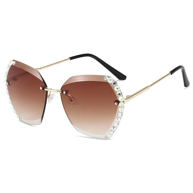 Vintage Fashion Oversized Rimless Sunglasses  2