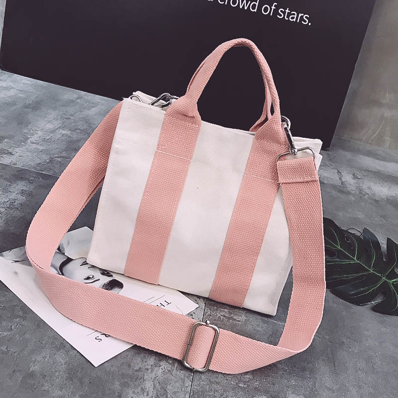New Korean Version Contrast Color Canvas Bag Big Capacity Wenyifans Ladies Hand Bags High Quality Shoulder Bag C41-45