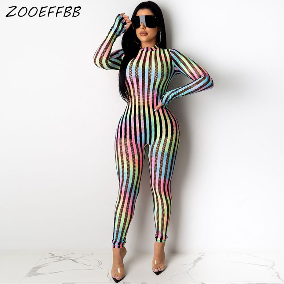 ZOOEFFBB <font><b>Sexy</b></font> Striped Mesh Sheer Bodycon Jumpsuits Women <font><b>Festival</b></font> Clothes One Piece Club Outfits Long Sleeve Rompers Overalls image