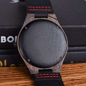 Image 4 - BOBO BIRD Wooden  Ebony Watch Men Quartz Wristwatches Male Wood Masculinos relogio masculino in Gift Box custom logo kol saati