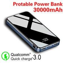 Внешний аккумулятор 30000 мАч портативный внешний аккумулятор большой емкости зарядное устройство фонарики ЖК дисплей для Samsung Xiaomi Iphone
