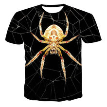 2021 new 3DT shirt casual short-sleeved O-neck top fashion close-up spider pattern boy and girl print T-shirt top