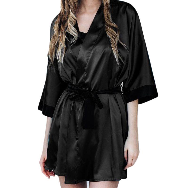 Women Sexy Translucent Sleepwear Set Faux Silk Half Sleeve Short Kimono Bath Robe Solid Color Nightgown With G-String Satin Sash