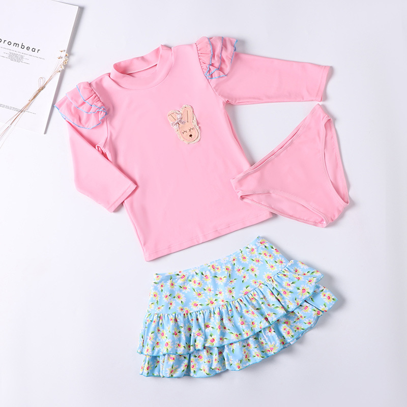 Children Split Type Swimsuit GIRL'S Girls Family Pink Yellow Bear Skirt Three-piece Set Chinlon