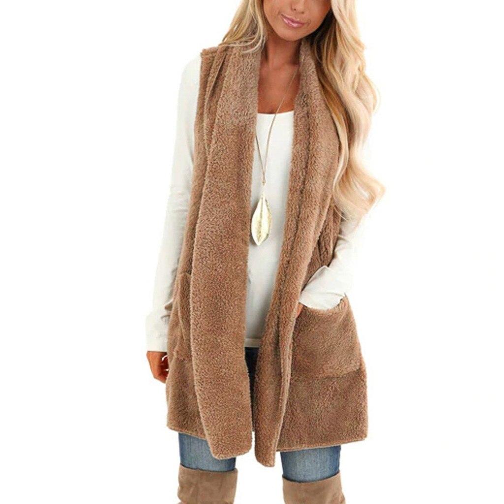 Pockets Vest Womens Winter Faux Fur Women Cardigan Fluffly Vintage Shaggy Vest Sleeveless Jacket Vintage Shaggy Vest Jacket T3