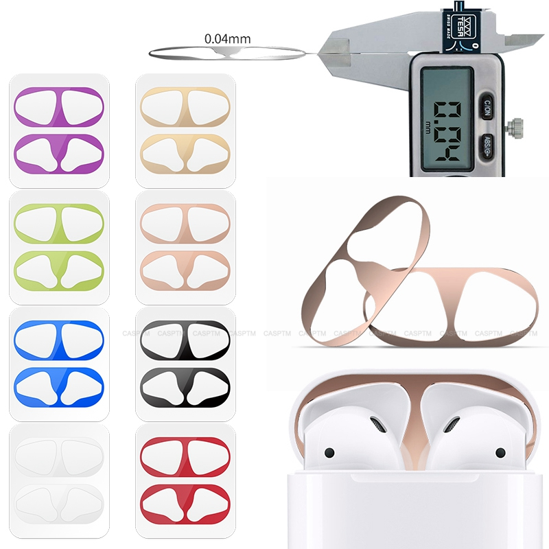 Metal Dust Guard Sticker For Airpods 1 2 Skin Protective Sticker For Apple Airpods Earphone Charging Box Case Cover Shell Skin