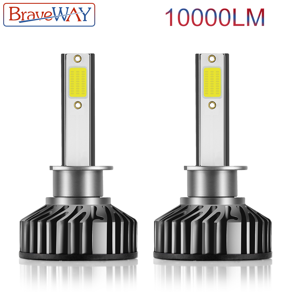 BraveWay Turbo LED Light Canbus H4 H7 LED H1 H8 H11 LED Bulbs Mini Car Headlight Lamp 10000LM 72W Auto Headlamp 12V 24V 6500K