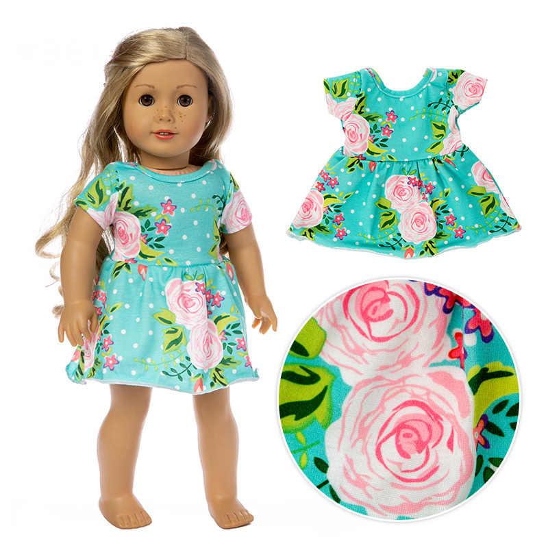2019 ニューグリーンプリントスカートフィットためアメリカンガールドール服 18 インチ人形、クリスマスガールギフト (のみ販売服)