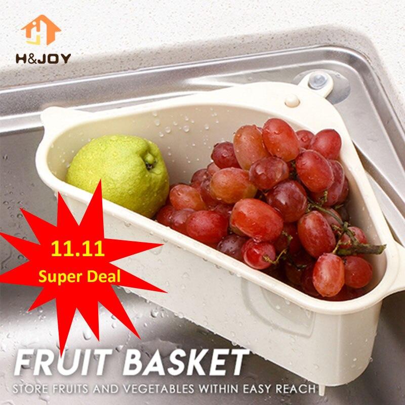 Kitchen Triangular Sink Strainer Drain Vegetable Fruite Drainer Basket Suction Cup Sponge Rack Stora