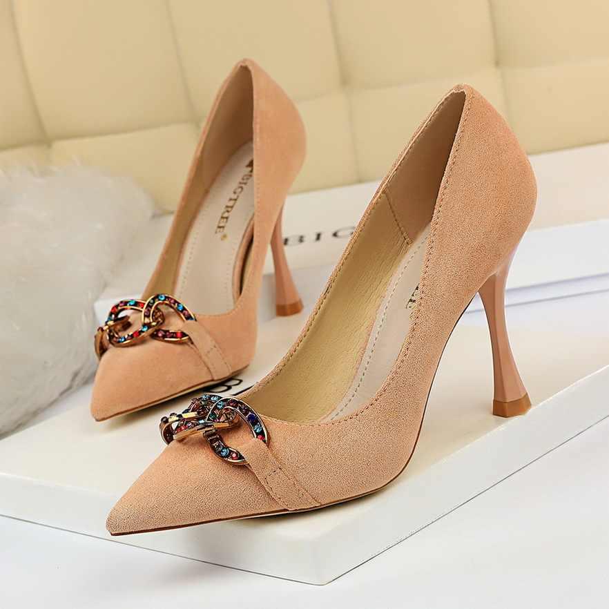 Zarif süet kadın pompaları yüksek topuklu taklidi çiçek düğün ayakkabı Bigtree tasarım sivri burun yüksek topuklu ayakkabıları 9.5CM topuk