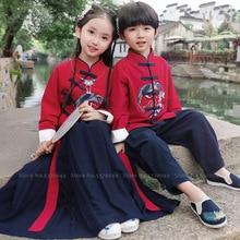 Китайский традиционный детский комплект одежды с вышивкой Журавля, Детский костюм в стиле династии Тан, нарядное платье для девочек, топы кунг-фу для мальчиков, юбки, штаны