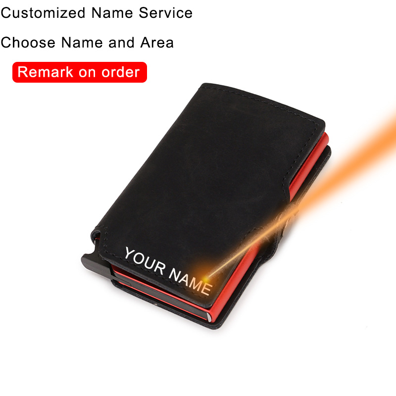 DIENQI Customize Anti Rfid Credit Card Holder Men Metal Smart Slim Wallet Bank Creditcard Holder Case With Name Dropshipping