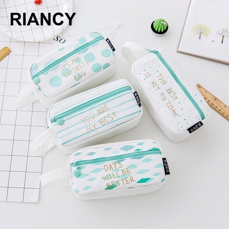 Kawaii Large Capacity Grid Canvas School Pencil Cases Creative Cute Pen Bag Box Pouch Office Stationary Supplies 04939