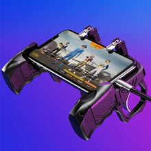 Mando K21 Universal Negro con cuatro dedos, botón de disparo de Metal, duradero, para teléfono móvil, ergonómico, sensible al juego