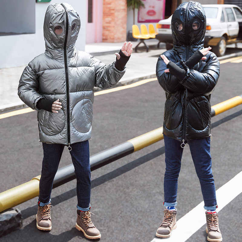 Çocuklar Çocuk Snowsuit Kış Parkas ile Gözlük Su Geçirmez Genç Sıcak parka ceket için Erkek Hoodies Ceket Lüks Çocuk Giysileri