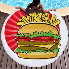 2019 High Quality Round Beach Towel Pineapple Donut Pizza Circle Blanket Bath Mats For Adults Swimming Pool