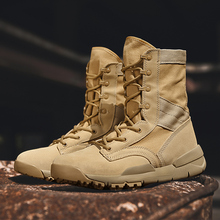 New military boots style men's shoes, high-top canvas breathable outdoor shoes, mountaineering shoes, camel men's shoes, desert