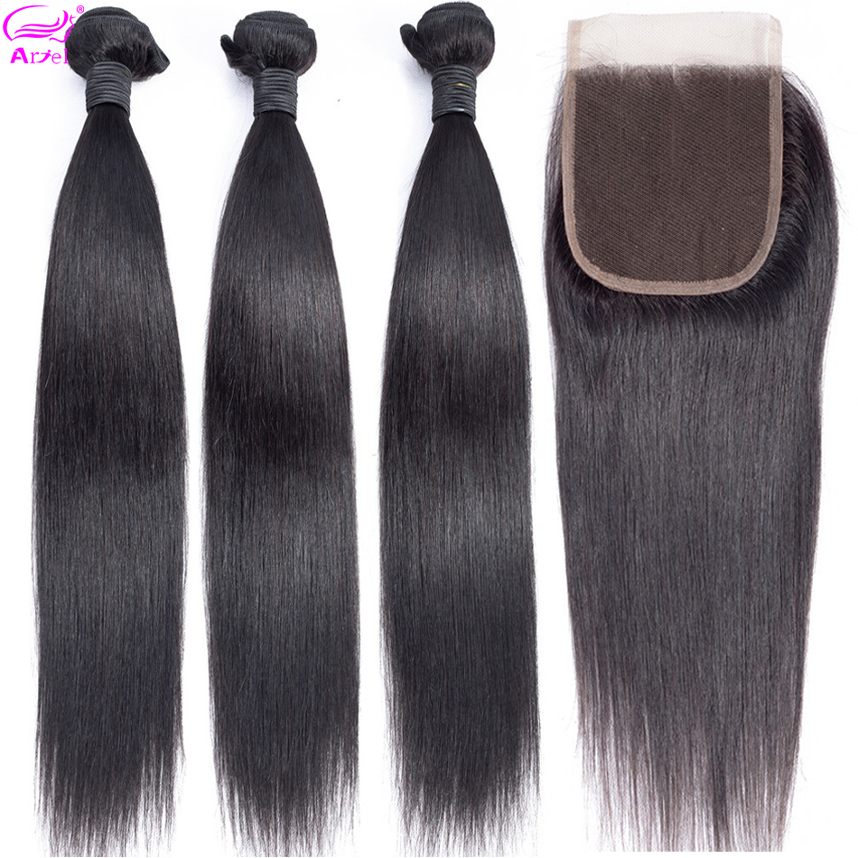 Ariel Human Hair Bundles With Closure Straight Bundles With Closure 4*4 Peruvian Non Remy Hair Weave 3 Bundles With Closure