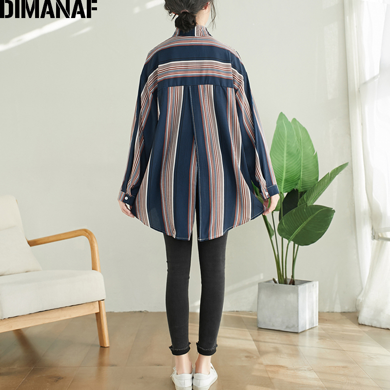 DIMANAF Plus Size Women Blouse Shirts Summer Office Lady Tops Tunic Casual Loose Striped Long Sleeve Clothing Button Cardigan