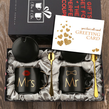 Mr and Mrs Coffee Mugs Cups Gift-Set for Engagement Wedding Bridal Shower Bride and Groom To Be Newlyweds Couples Black Ceramic 1