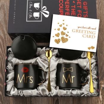 Tazas de café Mr y Mrs, juego de regalo para compromiso, boda, despedida de soltera, novia y novio para ser recién nacidos, parejas, cerámica negra