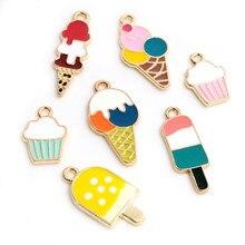 10 pçs verão sobremesa liga de metal gota óleo sorvete encantos pingente para diy pulseira colar fazer jóias encontrar