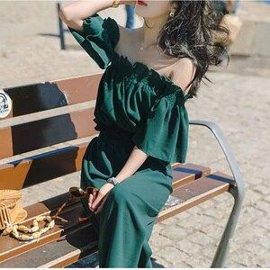 Image 3 - Женский Летний комбинезон с рюшами, открытыми плечами и лямками