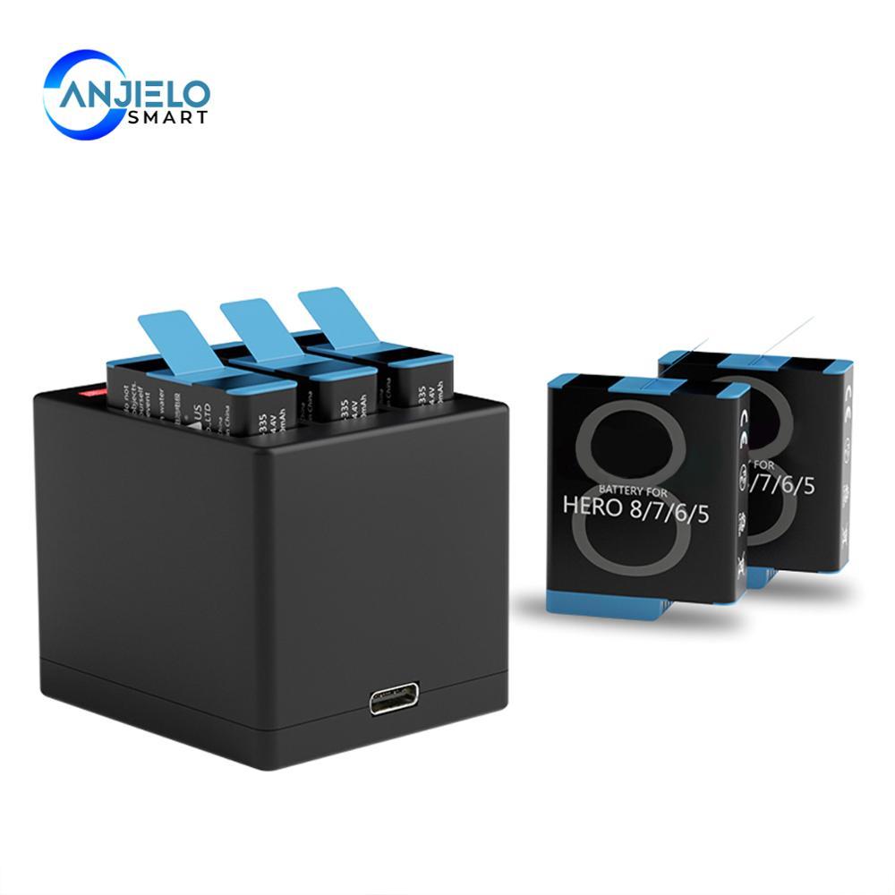 Anjielosmart Fast Charging Black Battery or Triple Charger for GoPro Hero 8 Hero 7 Hero 6 Hero 5 Black Camera Battery