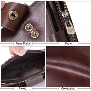 GROJITOO New Men\'s Multi-card Fashion Casual Business Long Genuine Leather Wallet Zipper Coin Purse Card Bag Male Walet Pocket