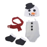 KLV Christmas Snowman Baby Photo Costume Infant Crochet Outfit Newborn Photo Props Photography Outfits