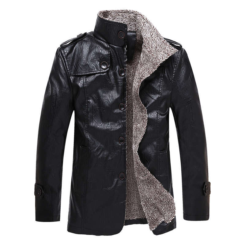 2019 Autumn And Winter New Style Plus Velvet PU Leather Men Fashion Casual Mid-length Stand Collar Coat Leather Coat Men's