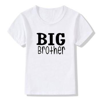 Big Brother drukuj krótki T Shirt lato czysty biały krótki rękaw O-neck dzieci Casual Tee T Shirt dla chłopców KT-2192 tanie i dobre opinie Sincerity Create Modalne CN (pochodzenie) REGULAR Pasuje prawda na wymiar weź swój normalny rozmiar Unisex white S-3XL