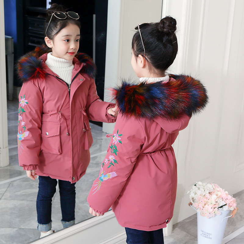 Autumn Winter Boutique Hooded Jackets Children 3-12 Teenagers Fine Waistline Outerwear Kids Flower Embroidery Down-cotton Coat image