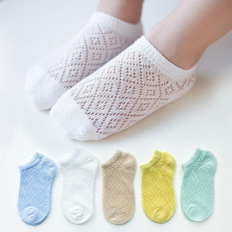 5 Pairs/Lot Children Cotton Socks Boy Girl Baby Infant Ultrathin Fashion Breathable Solid Mesh Socks For Summer 1-12T Teens Kids 5