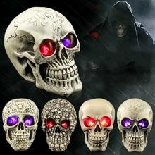 Halloween Luminous Skull Ornaments Novelty Creative Home Bar Decoration Resin Crafts Gifts