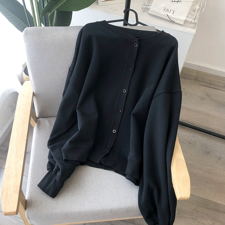 Spring And Autumn New Ladies Cotton Sweater Round Neck Cardigan
