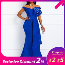 Women Long Dress Summer Sexy Mermaid Beads Off Shoulder Fashion Robe Prom Evening Lady Dress Elegant 2019 African Maxi Dresses cheap Sisjuly Polyester Trumpet Mermaid 13643255 Slash neck Short Off the Shoulder Beading Sexy Club empire Patchwork Floor-Length