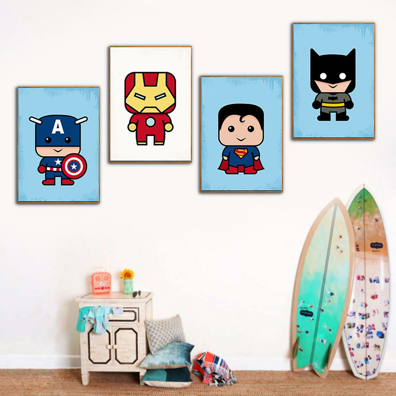 Superhero Wall Art Posters Cartoon Marvel Dc Heroes Canvas Paintings Comic Movie Animated Prints For Kids Baby Room Wall Decor image