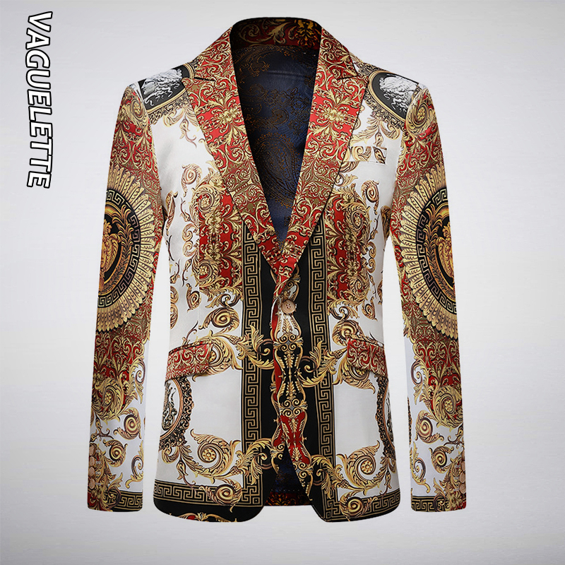VAGUELETTE Luxury Golden&Black Stage Jacket For Men Floral Printed Blue Blazer For Men Slim Fit Party Wedding Jacket Coat