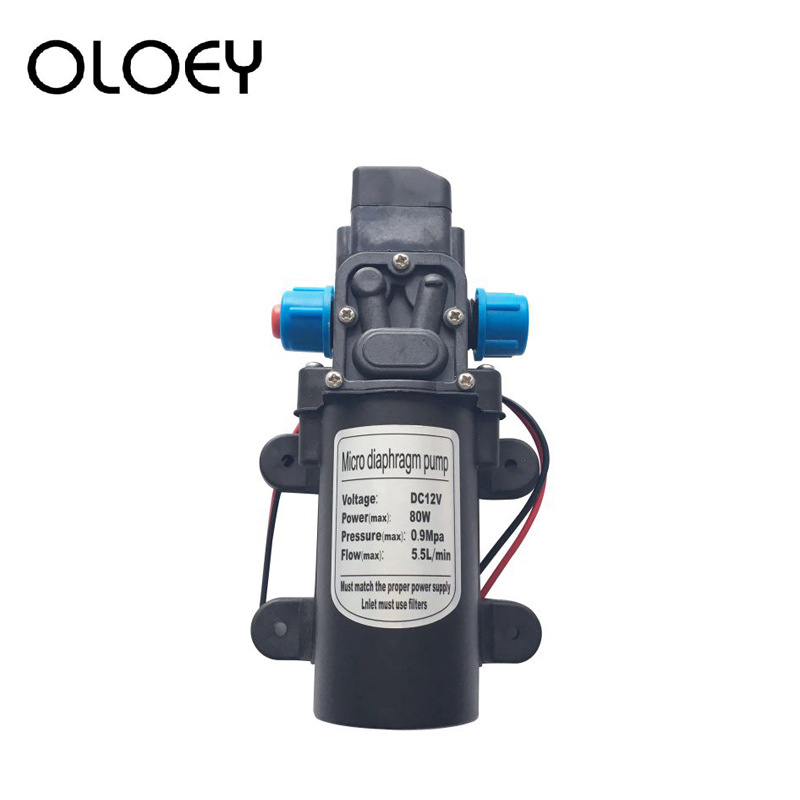 DC 12V 24V High Pressure Diaphragm Water Pump 5.5L / Min Micro Electric Diaphragm Water Pump 0.9Mpa Car Washing Spray Water Pump