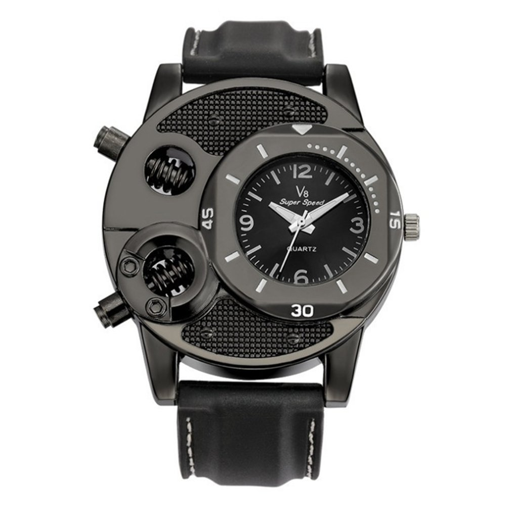 V8 Men Leisure Casual Wristwatch Quartz Double Movement Watch Super Speed Unique Style Black Analog For Gifts