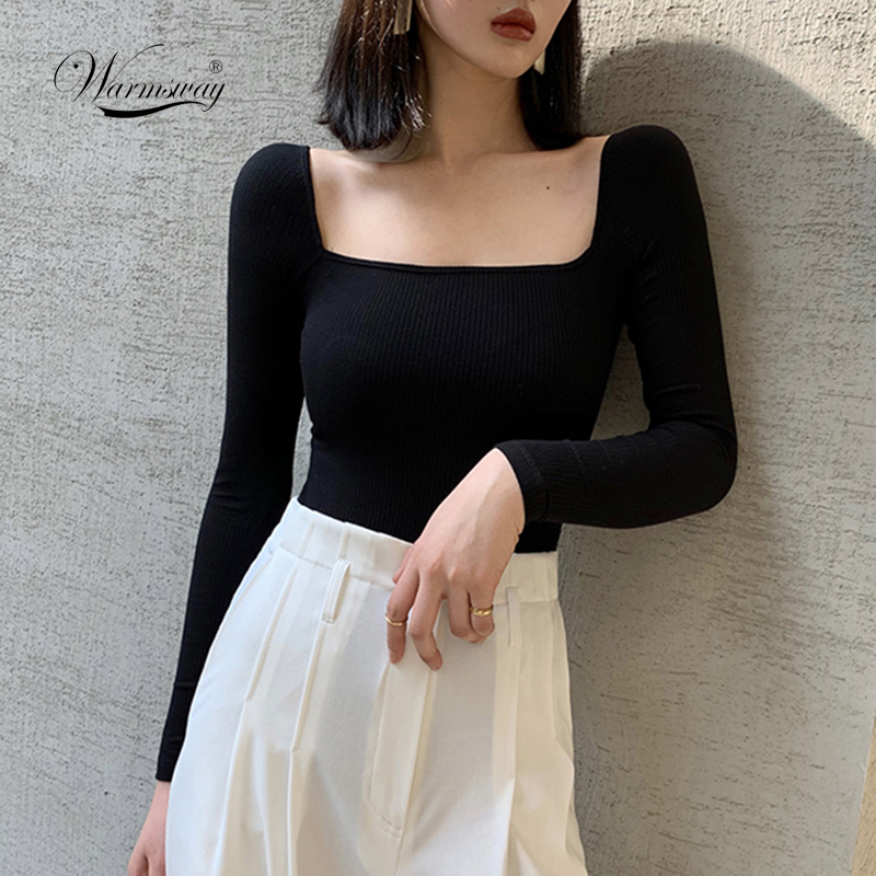 Black Office Lady Elegant Scoop Neck Long Sleeve Solid Mercerized Cotton Pullovers Tee 2020 Casual Women T-Shirt And Top B-076 1
