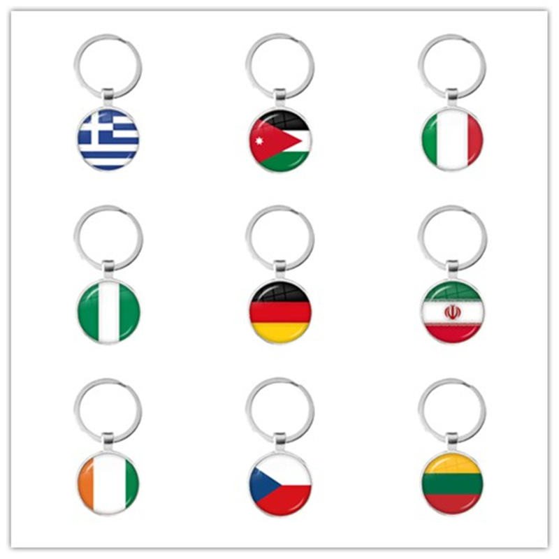 National Flag Glass Cabochon Keychain Greece,Jordan,Italy,Nigeria,Germany,Iran,Czech Republic,Lithuania Key Ring Key Holder Gift