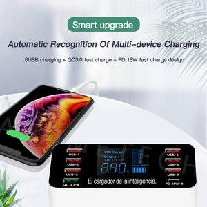 Image 4 - 8 יציאות QC3.0 USB מטען PD3.0 סוג C מהיר מטען עבור iPhone אנדרואיד Tablet דיגיטלי תצוגת מתאם עבור xiaomi huawei samsung