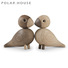 Danish Gifts Wooden Lovebird Figurines Nature Oak Wood Birds Colorful Statue Animal Figure Home Decoration Accessories 1 Set New