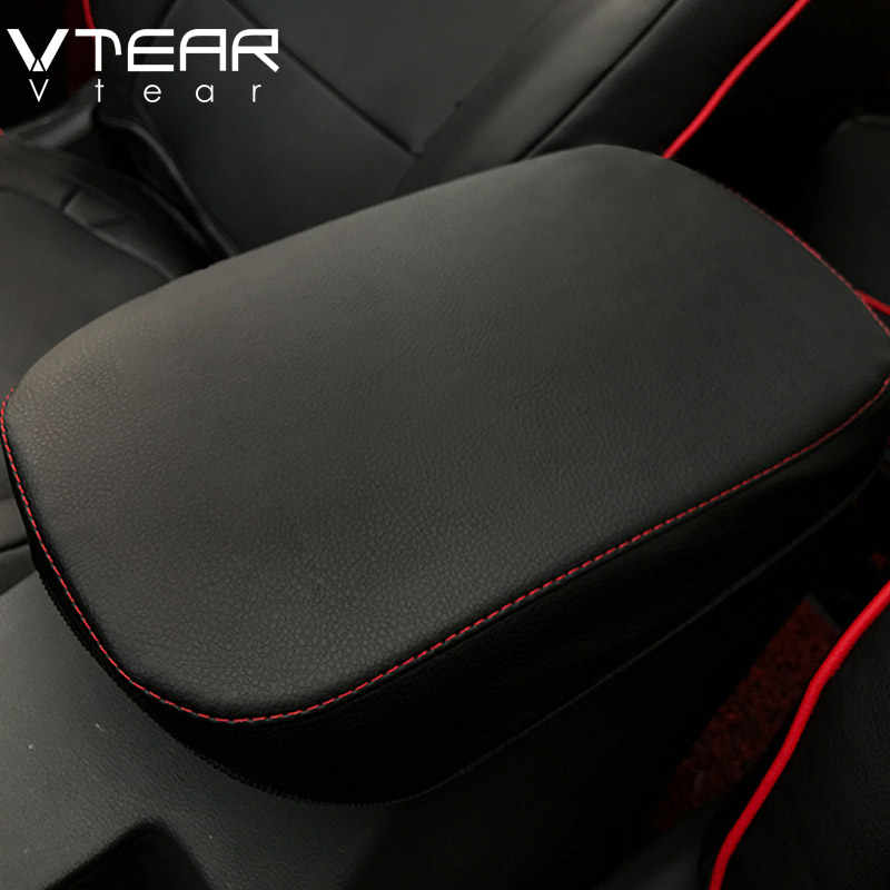 Vtear For Hyundai Encino KONA 2018 2019 Accessories Central armrest box Cover leather protection mat interior decoration Styling