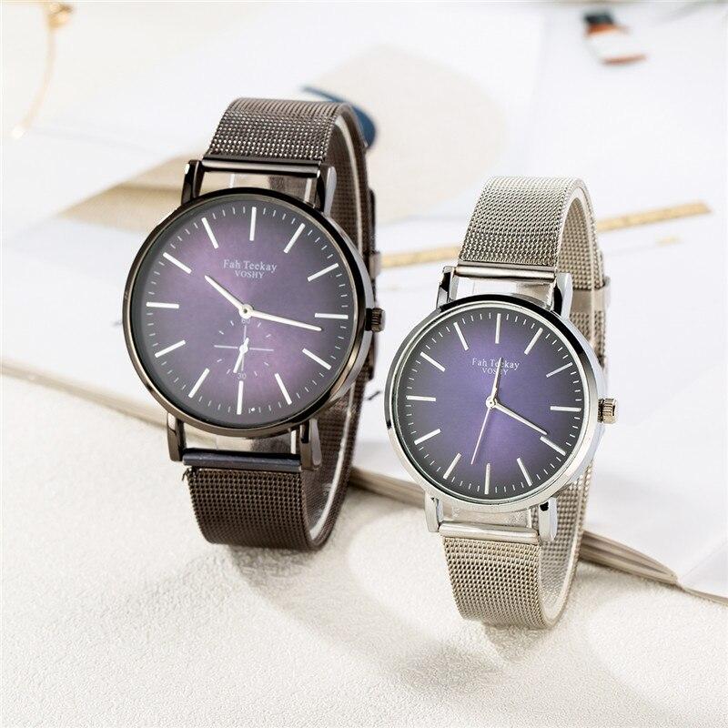 WJ-8739 Fashion Simple Lover's Watches Steel Strap Mesh Buckle Watch For Couple Brand Luxury Women Men Quartz Wristwatch Relogio